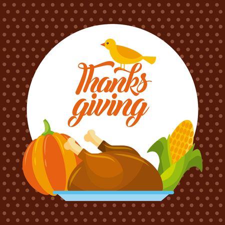 thanksgiving dinner menu food poster greeting vector illustration