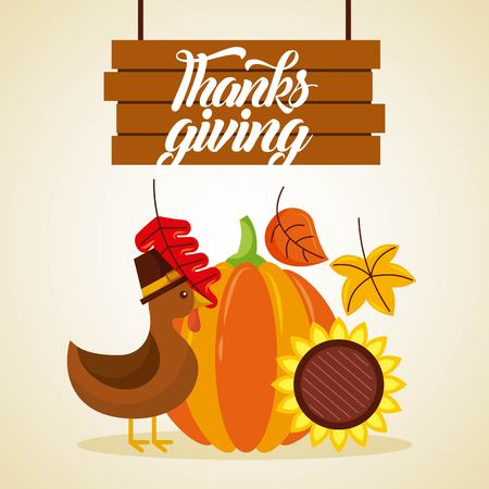 thanksgiving wooden board lettering turkey pumpkin and sunflower vector illustration