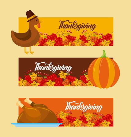thanksgiving day horizontal banner set with traditional food and leaves vector illustration