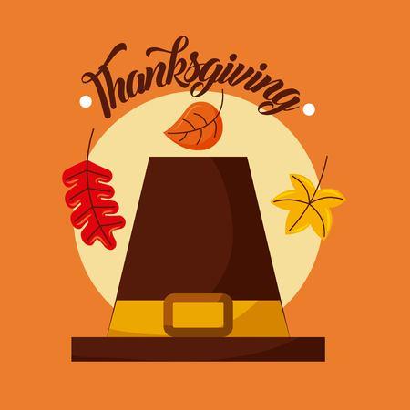 de pelgrimshoed en de met de hand geschreven Thanksgiving day vectorillustratie van de tekst Stock Illustratie