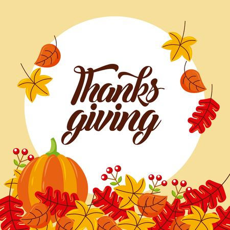 herfst thanksgiving kaart met oogst pompoen gevallen bladeren bessen vectorillustratie Stock Illustratie