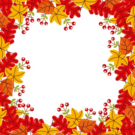 autumn leaves season floral design border frame orange yellow vector illustration Ilustração