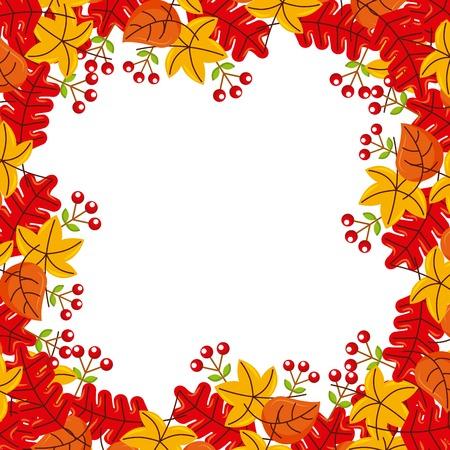autumn leaves season floral design border frame orange yellow vector illustration Illustration