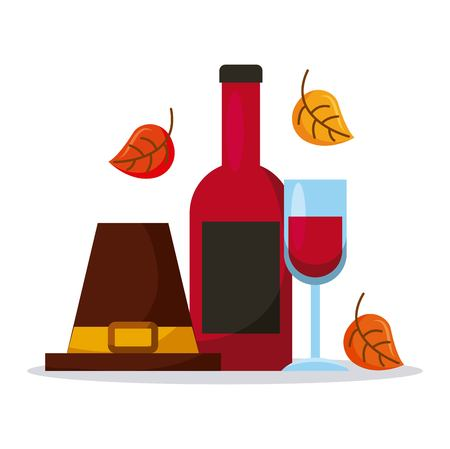 pilgrim hat with wine bottle glass and autumn leaves vector illustration Çizim