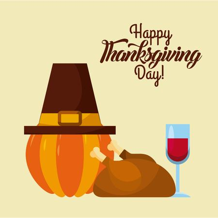 happy thanksgiving day card greeting pumpkin hat wine and roasted turkey vector illustration