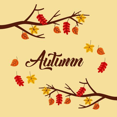 autumn tree branch leaves poster foliage with text vector illustration