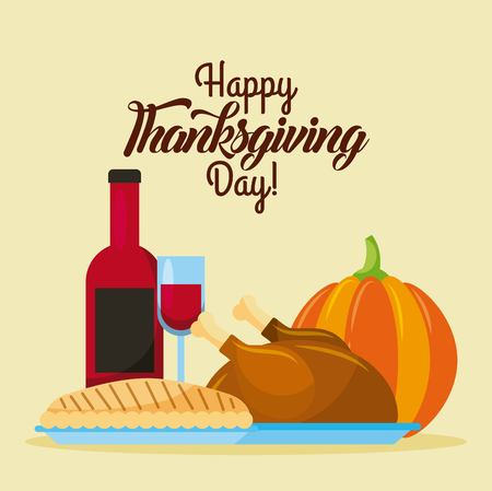 happy thanksgiving day food traditional dinner poster vector illustration