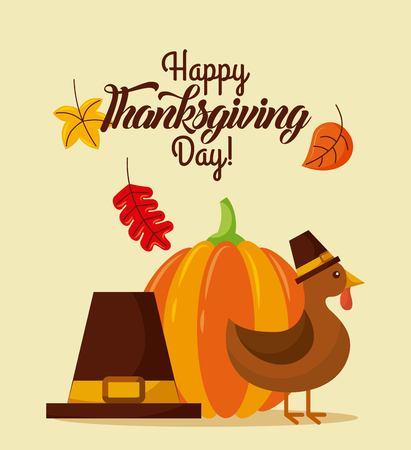 Happy Thanksgiving Day met prachtige Turkije vogel en pelgrim hoed herfstbladeren vector illustratie