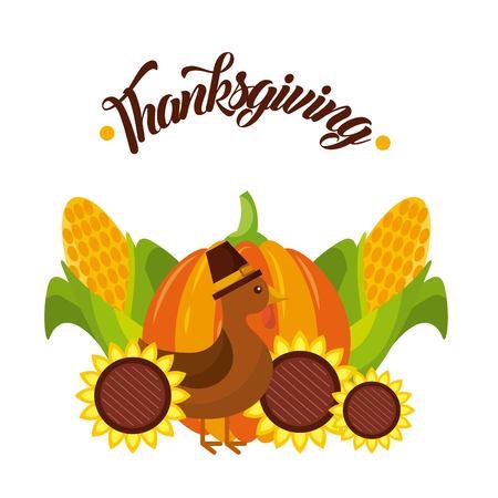 thanksgiving poster decoration turkey pumpkin sunflower corn vector illustration Çizim