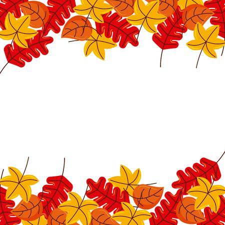 autumn leaves season floral design border frame orange yellow vector illustration Vector Illustration