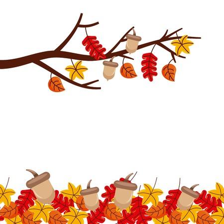秋の木の枝の葉シーズン花柄ボーダー フレーム オレンジ黄色のベクトル図