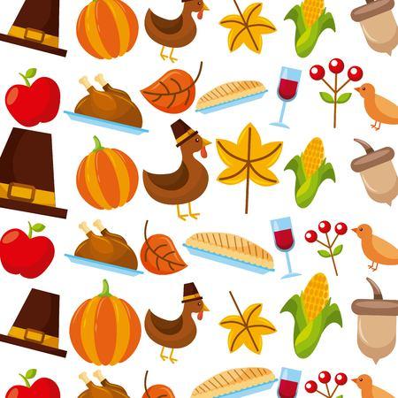feitkgiving vakantie vieren traditionele Amerikaanse iconen vector illustratie