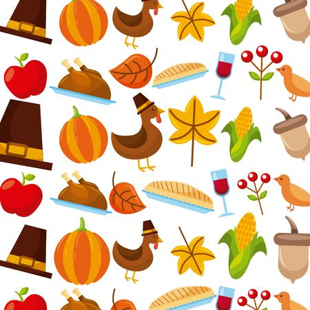 thanskgiving holiday celebration traditional american icons vector illustration Illustration