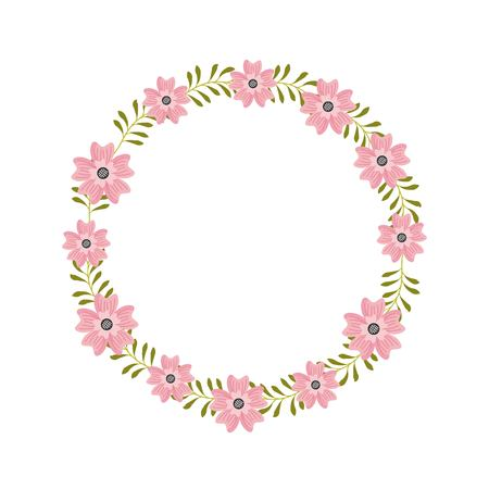 floral wreath flowers cute arranged herbal natural vector illustration
