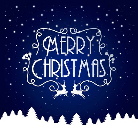 merry christmas card blue and white tree reindeer festive vector illustration