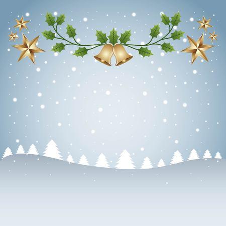 メリー クリスマス カード テンプレート ツリー雪と枝鐘星ベクトル図
