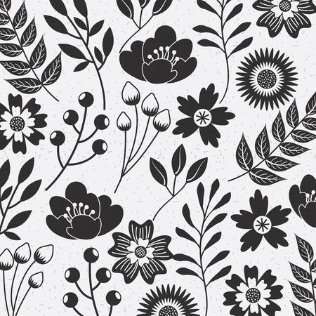 flower seamless pattern natural ornamental texture with flourish decoration vector illustration Çizim