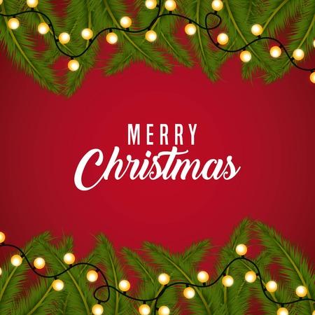 merry christmas card greeting branch tree border light shiny vector illustration Illustration