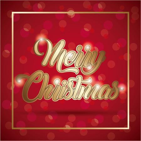 merry christmas card golden lettering blurry background vector illustration Illustration