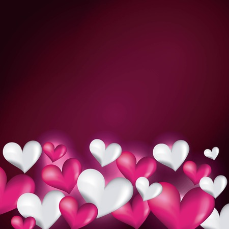 pink and white hearts decorative love blur glossy vector illustration