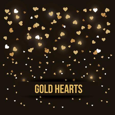 gouden harten liefde luxe romantiek zwarte achtergrond vectorillustratie