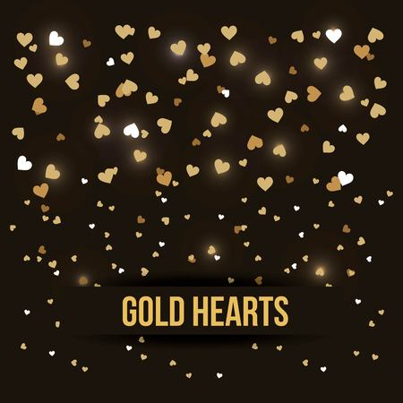 gold hearts love luxury romance black background vector illustration