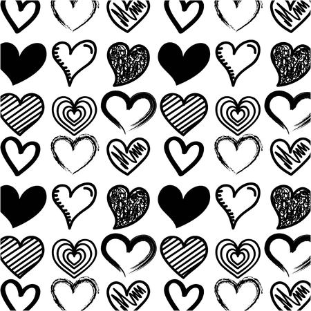 beautiful seamless romantic pattern with hearts vector illustration