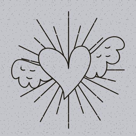 Contour coeur amour avec des ailes tatouage décoration illustration vectorielle Banque d'images - 88524325