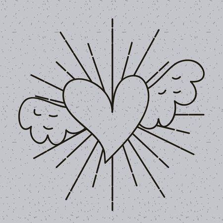 outline heart love with wings tattoo decoration vector illustration