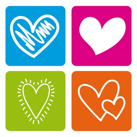set love hearts passion emotion colors icons vector illustration