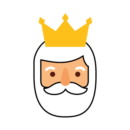 wise king face christmas celebration vector illustration