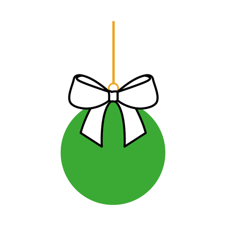 christmas ball with bow ribbon decoration vector illustration