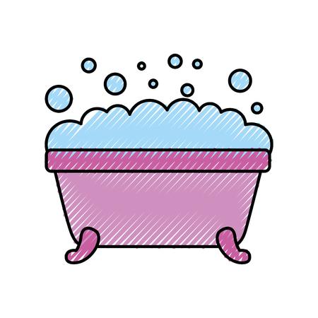 Vasca da bagno igiene pulita interni in ceramica icona illustrazione vettoriale Archivio Fotografico - 88524999