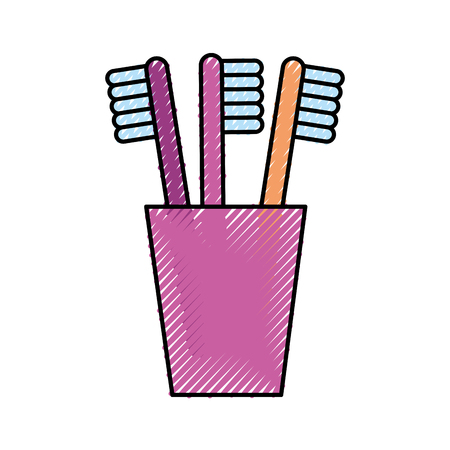 tooth brushes in glass clean bath dent design vector illustration Ilustracja