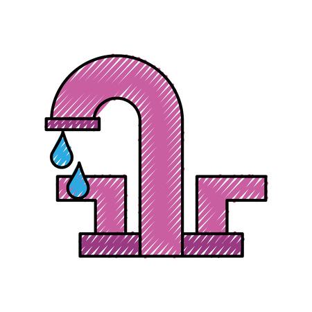 water kraan met druppel badkamer pictogram vectorillustratie