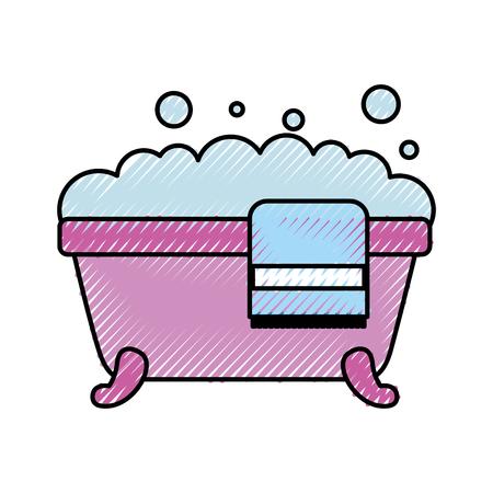 욕조 수건 거품 비누 청소 위생 인테리어 세라믹 아이콘 벡터 일러스트 레이션