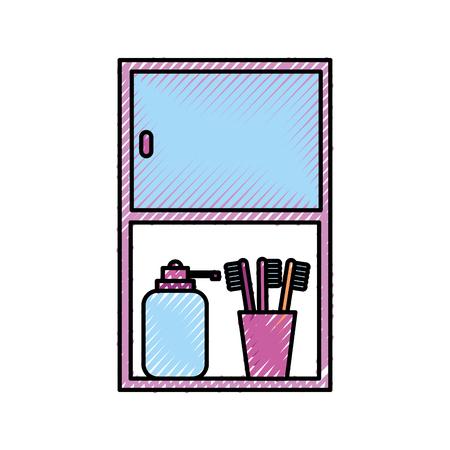 浴室用キャビネット ボトル石鹸と歯ブラシ アクセサリー ベクトル イラスト