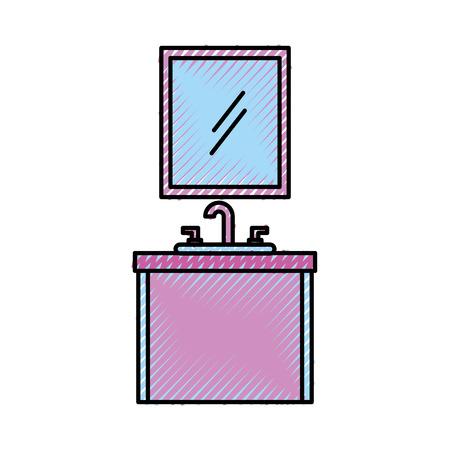 bathroom interior mirror with sink vanity cabinet furniture drawers vector illustration Ilustrace