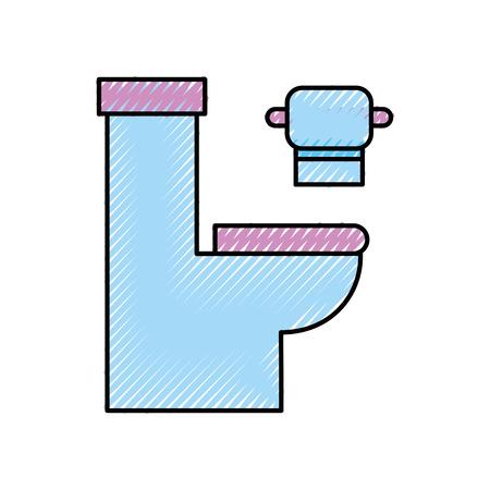紙の衛生機器お風呂漫画アイコン ベクトル イラスト便器