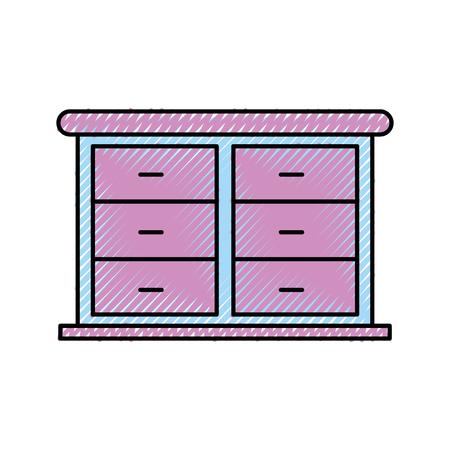 furniture bathroom drawers cabinet wooden vector illustration
