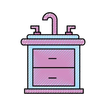 Badezimmer Interieur mit Waschbecken Waschtisch Möbel Schubladen Vektor-Illustration Standard-Bild - 88525050