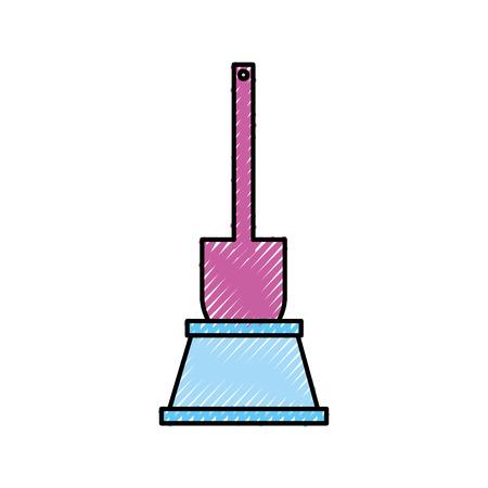 トイレ ブラシ アクセサリー クリア ハンドル アイコン ベクトル図