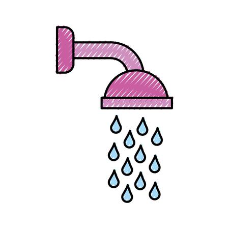 Soffione doccia in bagno con gocce d'acqua che scorre illustrazione vettoriale Archivio Fotografico - 88525054