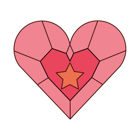 jewelry heart star pendant luxury fantasy vector illustration