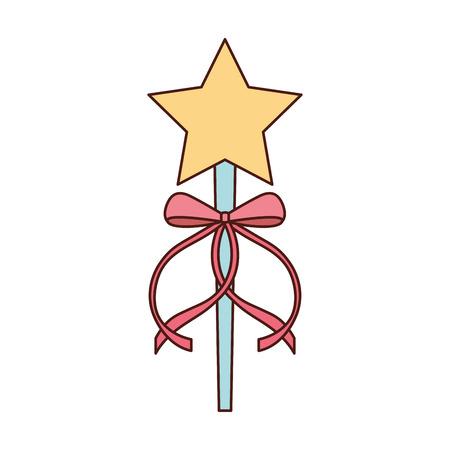 princess wand with bow ribbon decoration vector illustration Фото со стока - 88525113