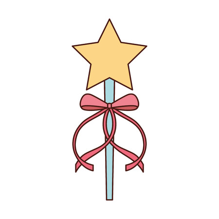 princess wand with bow ribbon decoration vector illustration