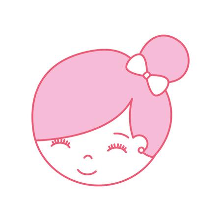 Joli visage petite fille ballerine dessin animé caractère vector illustration Banque d'images - 88525166