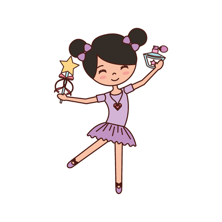 dressing: little girl dancer ballet holding magic wand and bottle perfume vector illustration