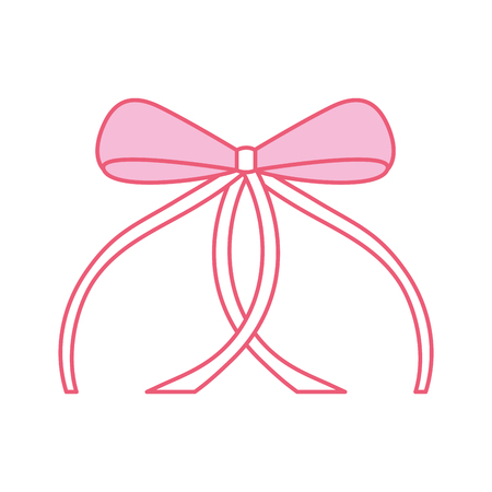 pink ribbon bow ballet decoration ornament vector illustration