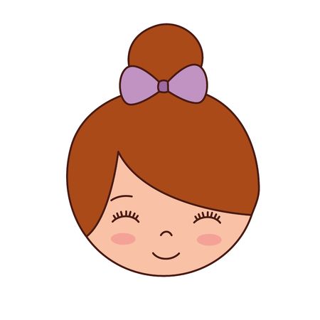 cute face little girl ballerina cartoon character vector illustration Illusztráció